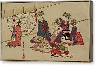 Geisha And Attendants Canvas Print by British Library