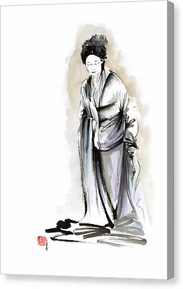 Geisha Classical Figure Kimono Woman Wearing Old Style Painting Canvas Print by Mariusz Szmerdt