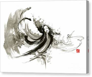 Geisha Dancer Dancing Girl Japanese Woman Original Painting Canvas Print by Mariusz Szmerdt