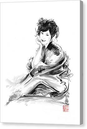 Geisha Geiko Maiko Young Girl Kimono Japanese Japan Woman Sumi-e Original Painting Art Print Canvas Print by Mariusz Szmerdt