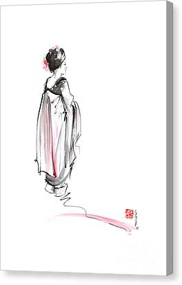Geisha In Kimono Japanese Ink Painting. Canvas Print by Mariusz Szmerdt