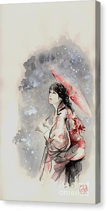 Geisha In Snow. Japanese Woman Portait. Canvas Print by Mariusz Szmerdt