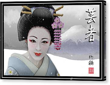 Geisha In Snow On Mt. Fuji Canvas Print by John Wills