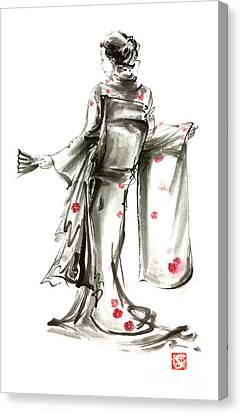 Geisha Japanese Woman Sumi-e Original Painting Art Print Canvas Print by Mariusz Szmerdt