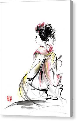 Geisha Japanese Woman Young Girl In Tokyo Kimono Fabric Design Original Japan Painting Art Canvas Print by Mariusz Szmerdt