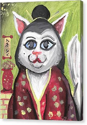 Geisha Kitty Canvas Print by Artists With Autism Inc