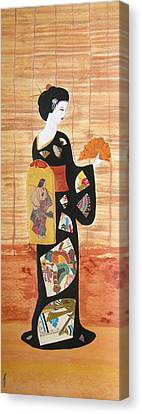 Canvas Print featuring the painting Geisha by Mini Arora