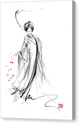 Geisha Girl Canvas Print - Geisha With Cherry Blossom Flower by Mariusz Szmerdt