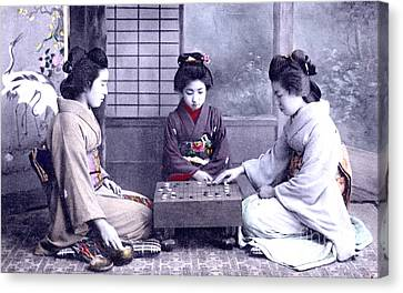 Canvas Print featuring the photograph Geisha's Playing Game by Unknown