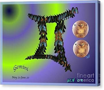 Canvas Print featuring the digital art Gemini by The Art of Alice Terrill
