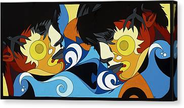 Gemini Painting With Hidden Pictures Canvas Print by Konni Jensen