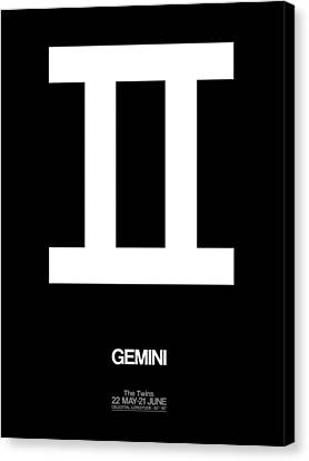 Zodiac Signs Canvas Print - Gemini Zodiac Sign White by Naxart Studio