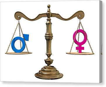 Gender Equality Balancing Scale Canvas Print by Allan Swart