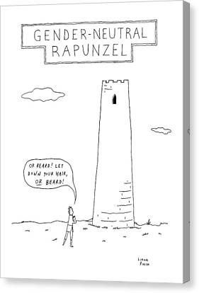 Rapunzel Canvas Print - Gender-neutral Rapunzel -- A Man Calls Out To Let by Liana Finck