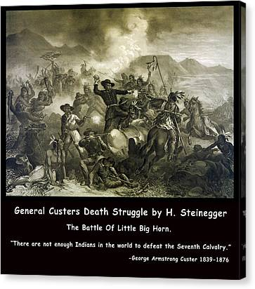General Custers Death Struggle Canvas Print by H Steinegger