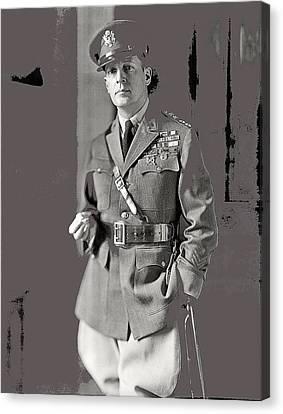 General Douglas Macarthur Harris And Ewing Glass Negative Washington Dc November 1920-2014 Canvas Print by David Lee Guss