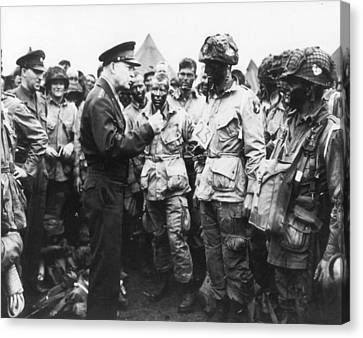 General Eisenhower Encouraging Troops Prior To D-day Invasion Canvas Print by Mountain Dreams