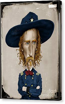 Caricature Portraits Canvas Print - General George Custer by Andre Koekemoer