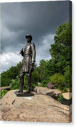 General K Warren Monument Gettysburg Canvas Print by James Brunker
