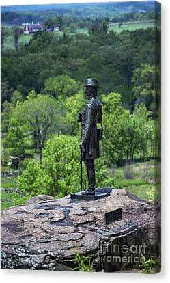 General Kemble Warren At Little Round Top Canvas Print by John Greim