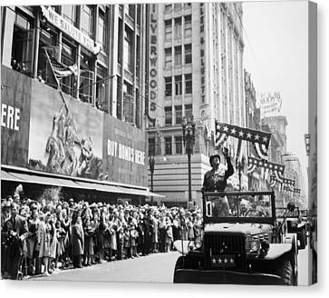 General Patton Ticker Tape Parade Canvas Print by War Is Hell Store