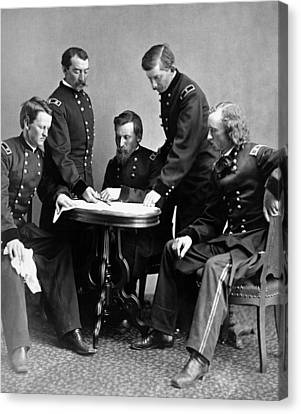 General Philip Sheridan And His Staff  Canvas Print by War Is Hell Store