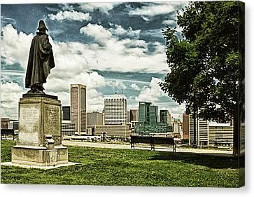General Smith Overlooks Baltimore Harbor Canvas Print