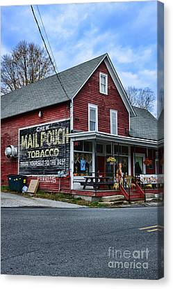 General Store With Tobacco Ad Canvas Print
