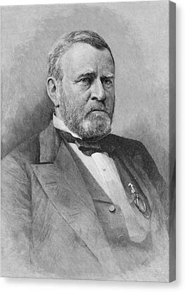 General Ulysses Simpson Grant, Engraved From A Photograph, Illustration From Battles And Leaders Canvas Print by Mathew Brady