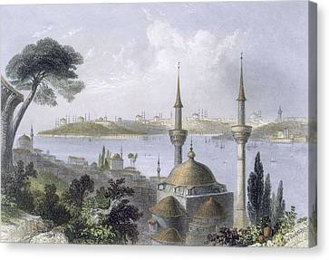 General View Of Constantinople Canvas Print by William Henry Bartlett