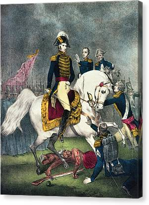 General William H. Harrison 1773-1841 At The Battle Of Tippecanoe, 1840 Colour Litho Canvas Print by N. Currier