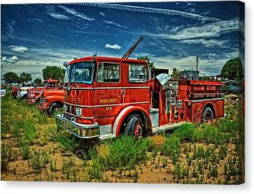 Canvas Print featuring the photograph Generations Of Fire Fighting Equipment by Ken Smith