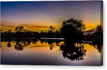 Genesee Mill Pond Sunset Canvas Print by Randy Scherkenbach
