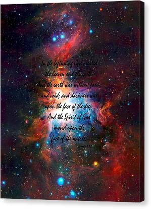 Genesis Chapter 1 Verses 1 And 2 Vista Telescope's Infrared View Orion Nebula Canvas Print by L Brown