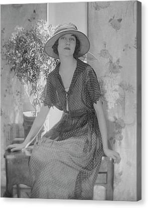 Genevieve Tobin In A Swiss Style Dress Canvas Print by Baron Adolphe De Meyer