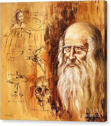 Genius   Leonardo Da Vinci Canvas Print by Arturas Slapsys