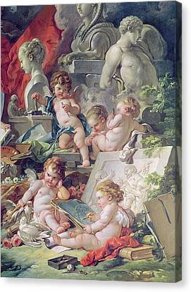 Genius Teaching The Arts, 1761 Oil On Canvas Detail Canvas Print by Francois Boucher