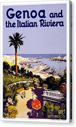 Genoa And The Italian Riviera - Travel Poster For Enit - 1931 Canvas Print
