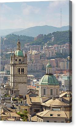 Genoa, Liguria, Italy. Dome And Tower Canvas Print