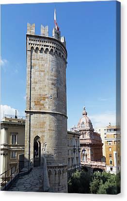 Genoa, Liguria, Italy. Porta Soprana Canvas Print