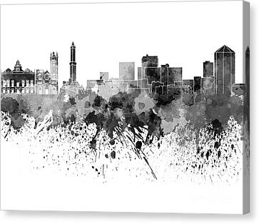 Genoa Skyline In Black Watercolor On White Background Canvas Print
