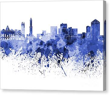 Genoa Skyline In Blue Watercolor On White Background Canvas Print