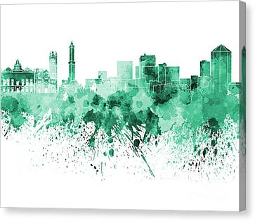 Genoa Skyline In Green Watercolor On White Background Canvas Print