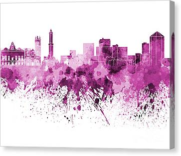 Genoa Skyline In Pink Watercolor On White Background Canvas Print
