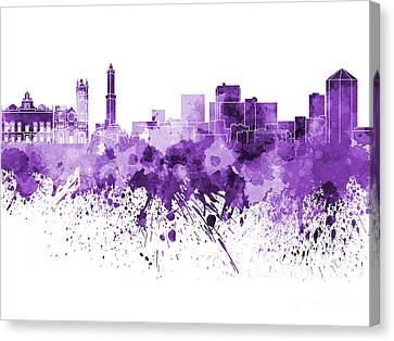 Genoa Skyline In Purple Watercolor On White Background Canvas Print