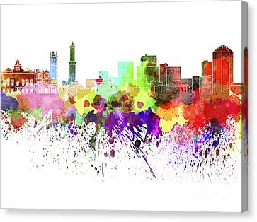 Genoa Skyline In Watercolor On White Background Canvas Print