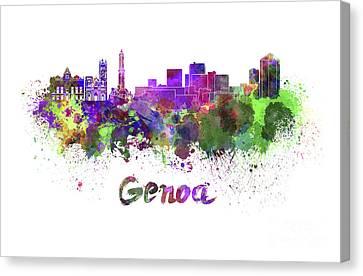 Genoa Skyline In Watercolor Canvas Print