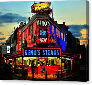 Geno's Steaks Canvas Print by Benjamin Yeager