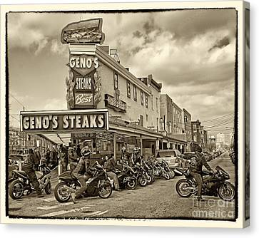 Geno's With Cycles Canvas Print by Jack Paolini