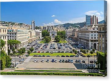 Genova - Piazza Della Vittoria Overview Canvas Print by Antonio Scarpi